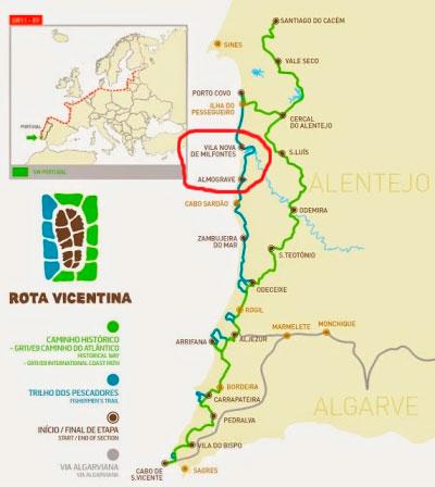 Map of Fishermen's trail - stage 3 Vila Nova de Mil Fontes to Almograve
